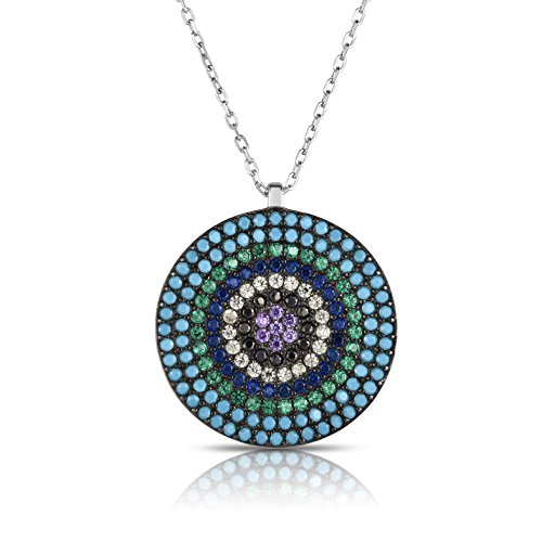 (Sterling Silver Outer Turquoise 6-Multiple Colors Circular Nano Pendant Necklace with Adjustable Length 16