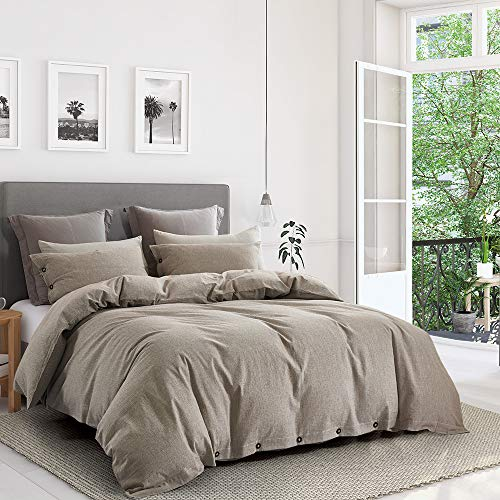 ESLITE LIFE 3 PCS Bedding Duvet Cover Queen, 100% Cotton Duvet Cover Set,Ultra Soft and Easy Care,Simple Style Bedding Sets with Buttons,90 x 90 inches (Taupe, Queen)