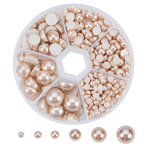 PH PandaHall 1 Box (About 690pcs) 6 Sizes Tan Flat Back Pearl Cabochon (4mm, 5mm,6mm, 8mm, 10mm, 12mm) 5mm Swarovski Flower Bead
