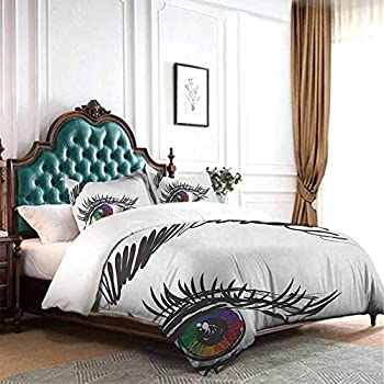 Image of dsdsgog Party 3 Piece Eye,Flirty Attractive Woman with Blue Eyes and Thick Lashes Beauty Glamor Youth, Blue Black Pale Grey 90x104 inch Hypoallergenic Home and Kitchen