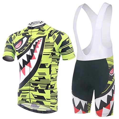 GWELL Men's Cycling Jersey Set Short Sleeve Set Road Bike Quik-Dry Breathable Shirt + 3D Cushion Shorts Pants (Green Jersey+Bib Shorts, 3XL) ()