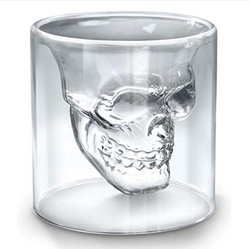 LIVDAT Skull Shot Glass Thick Base Double Wall Clear Glass Crystal Skull Shotglass Crystal Skull Pirate Shot Glass Drink Cocktail Beer Cup (5 - Shotglasses Personalized