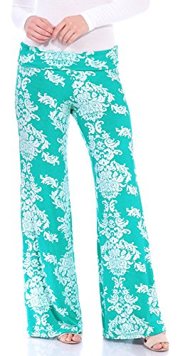 Popana Womens Comfy Chic Wide Leg Boho Print Palazzo Pants Plus Size Made in USA Medium Mint Damask