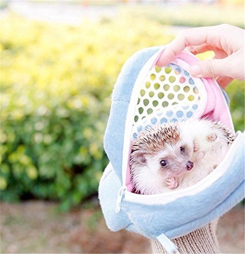 Yosoo Portable African Hedgehog Hamster Breathable Pet dog Carrier Bags Handbags Puppy Cat Travel Backpack (S, White Mesh - Blue)