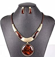 Spring Jewelry Sets Statement Pendant Necklace with Stud Earring 5 Colors Nl-2150