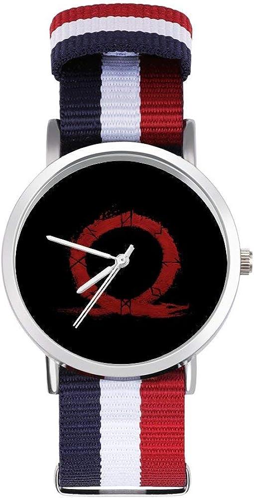 God of War Omega Symbol Ocio Correa Relojes Trenzado Reloj con Escala