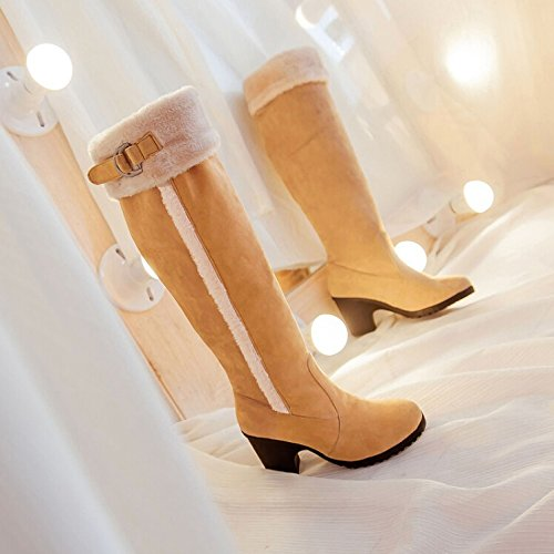 Winter new boots women Yellow high waterproof snow boots boots high with heeled boots knight rrxqOdnf
