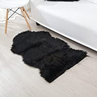 SunMoon Luxurious Faux Fur Sheepskin Area Rug Shaggy Plush Super Soft Chair Cover Seat Cushion Pad for Bedroom Floor Sofa Livingroom (Black)