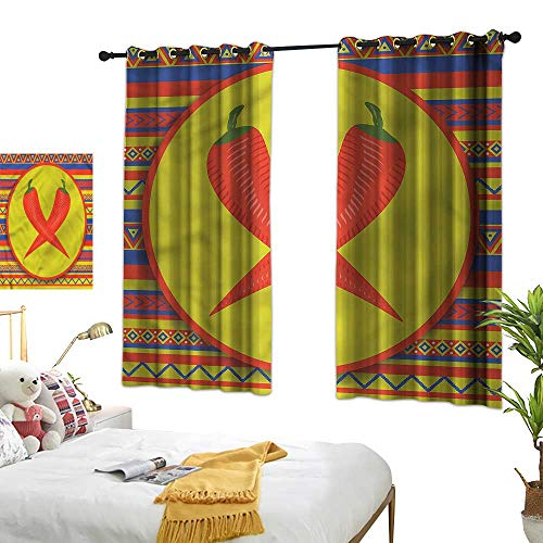 Warm Family Mexican Simple Curtain Two Red Chili Peppers 70%-80% Light Shading, 2 Panels,55