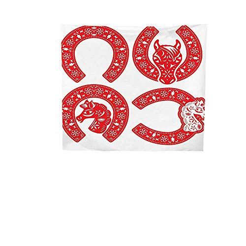 (Home Decor Tapestry by (35W x 35L Inch Wall Hanging for Bedroom Living Room DormHorseshoe Decor Horseshoe Symbol Designs in Chinese Paper Cut Style to Celebrate The CNY.)