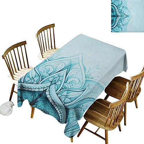 (kangkaishi Anti-Wrinkle and Anti-Wrinkle Polyester Long Tablecloth for Weddings/banquets Traditional Ethnic Ornamental Lace Border with Swirled Flower Lines Eastern Folk Artwork W52 x L70 Inch Aqua)