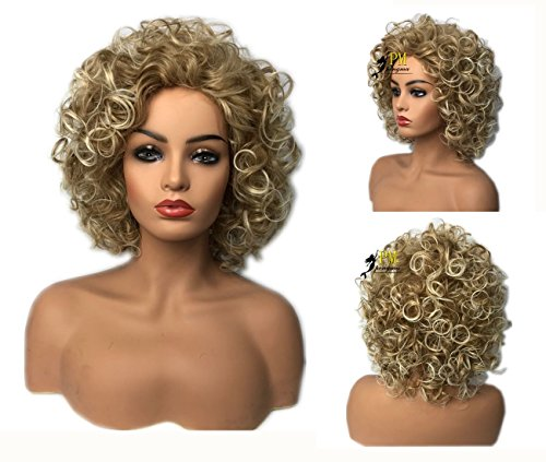 Pengma Natural Short Curly Wigs Attractive Blonde Color Sexy Wig
