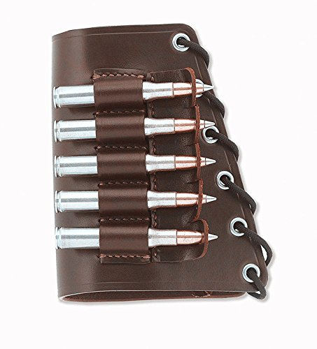 Real Leather Rifle Cartridge Holder Buttstock Cheek Rest Pad Gun Vintage (Red Brown right )
