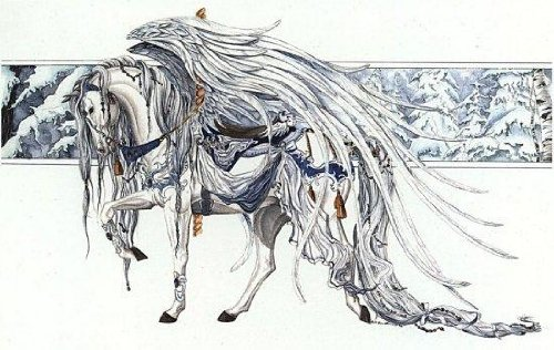 "Nene Thomas Angel White Carousel Horse 5"" x 7"" Print"