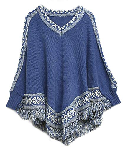 QZUnique Women's Batwing Sleeve Knit Poncho Cape V Neck Loose Pullover Sweater with Fringe ()
