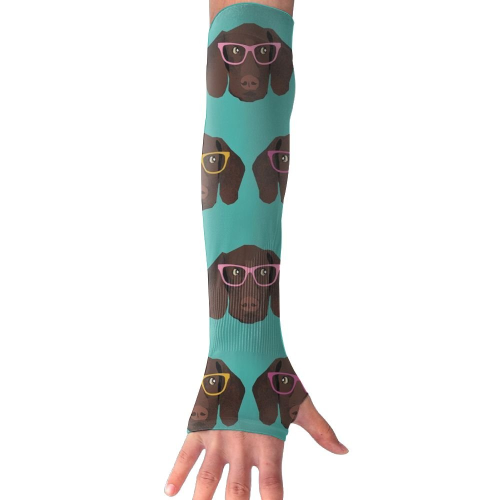 Huadduo German Shorthaired Pointer In Glasses UV Sun Protection Sleeves,Cooling Arm Sleeves For Men & Women Long Arm Sleeve Glove Fit Running,Golf,Cycling, Biking,Driving.