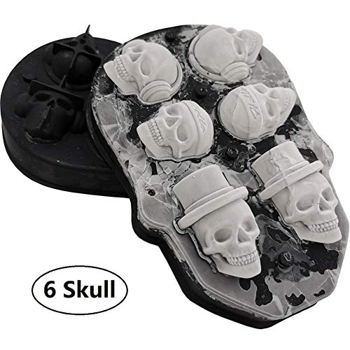 3D Skull Ice Mold-Food Grade Silicone Ice Cube Trays, Best Silicone Ice Mold for Whiskey, Cocktails and Vodka, Perfect Ice Cube Maker for Party and Holiday, Black]()