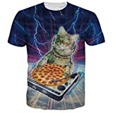 Uideazone Mens 3d Lightning Cat Cook Pizza Shirt Funny Tee Tops,alien1,Asia XL= US M