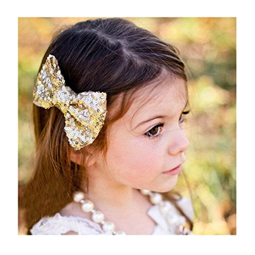 Iuhan® Fashion New Children Sequin Barrettes Cute Baby Girl Big Bow Hair Accessories (Gold) - Hair Bows For Girls Under $5