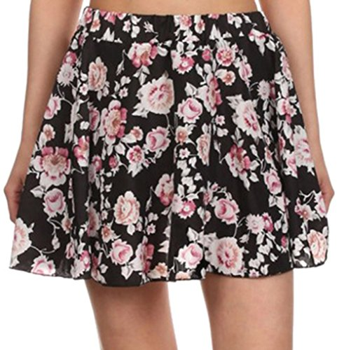 Simplicity women's Printed Full Retro Flared Pleated Short Skirt, M