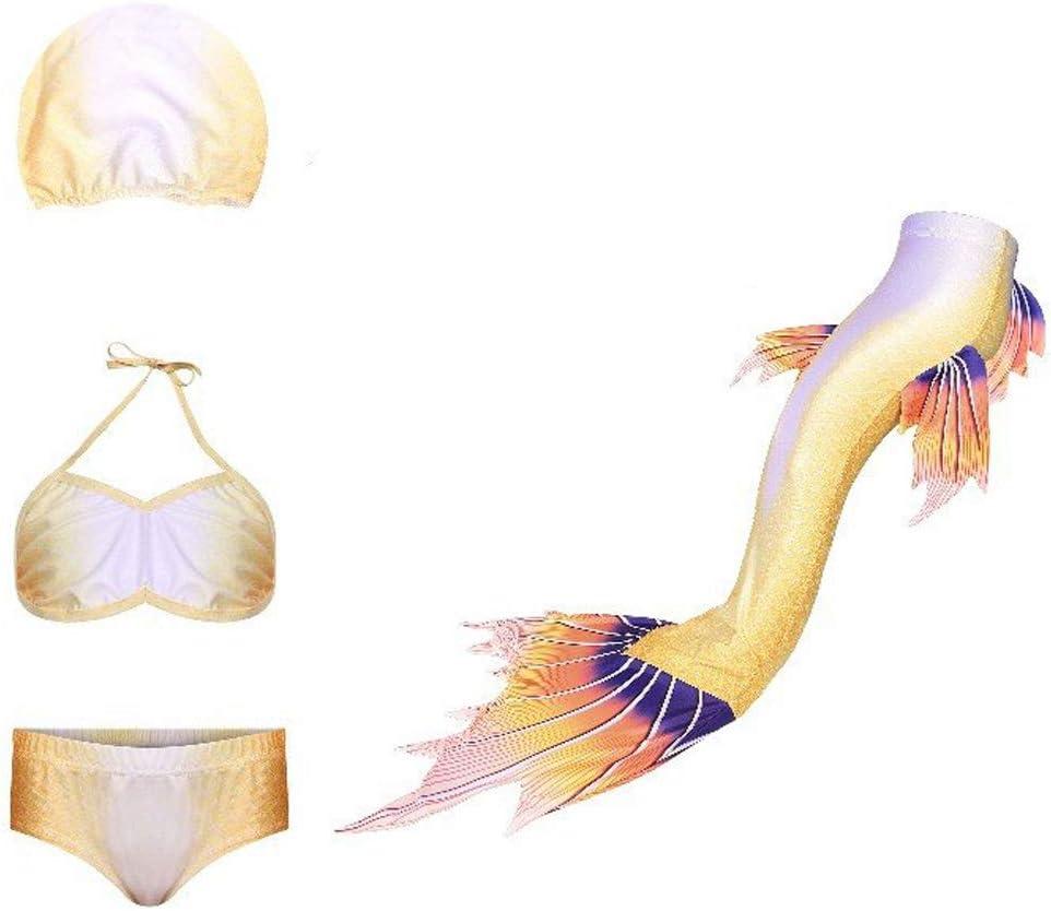 zhangfengjiao Traje De Baño De 4 Piezas para Niñas, Traje De Sirena, Conjunto De Bikini, Regalo De Cumpleaños para Niñas Grandes, Adecuado para Niños De 3 a 14 Años.