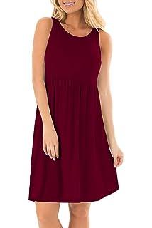 d59f2c7a93575 VOGRACE Womens Sleeveless Casual Loose T-Shirt Summer Dress Tank ...