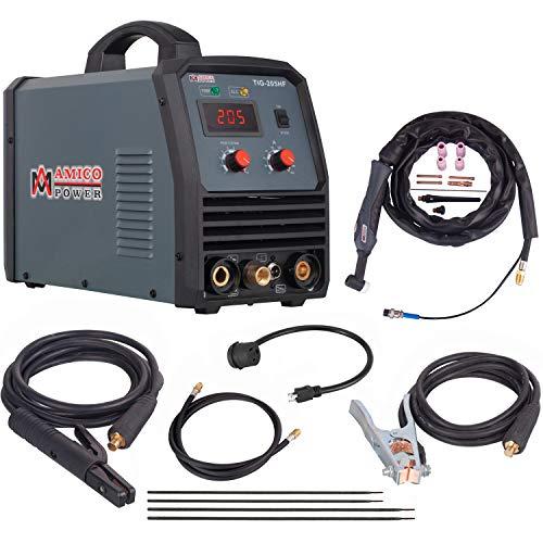 Amico TIG-205HF, 205 Amp TIG Torch Stick Arc DC Inverter Welder, High Frequency & High Voltage 100% Start, 95~260V Wide Voltage Welding Machine.