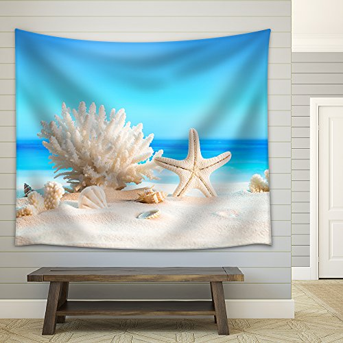 Landscape with Seashells on Tropical Beach Summer Holiday Fabric Wall Tapestry