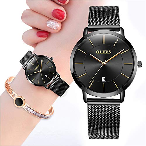 Ultra Thin Watches for Women with Fashion Jewelry Bracelet Gift Set,Minimalist Watch Women,OLEVS Ladies Slim Casual Dress Analog Quartz Date Wrist Watch Waterproof with Milanese Mesh Band All Black from OLEVS