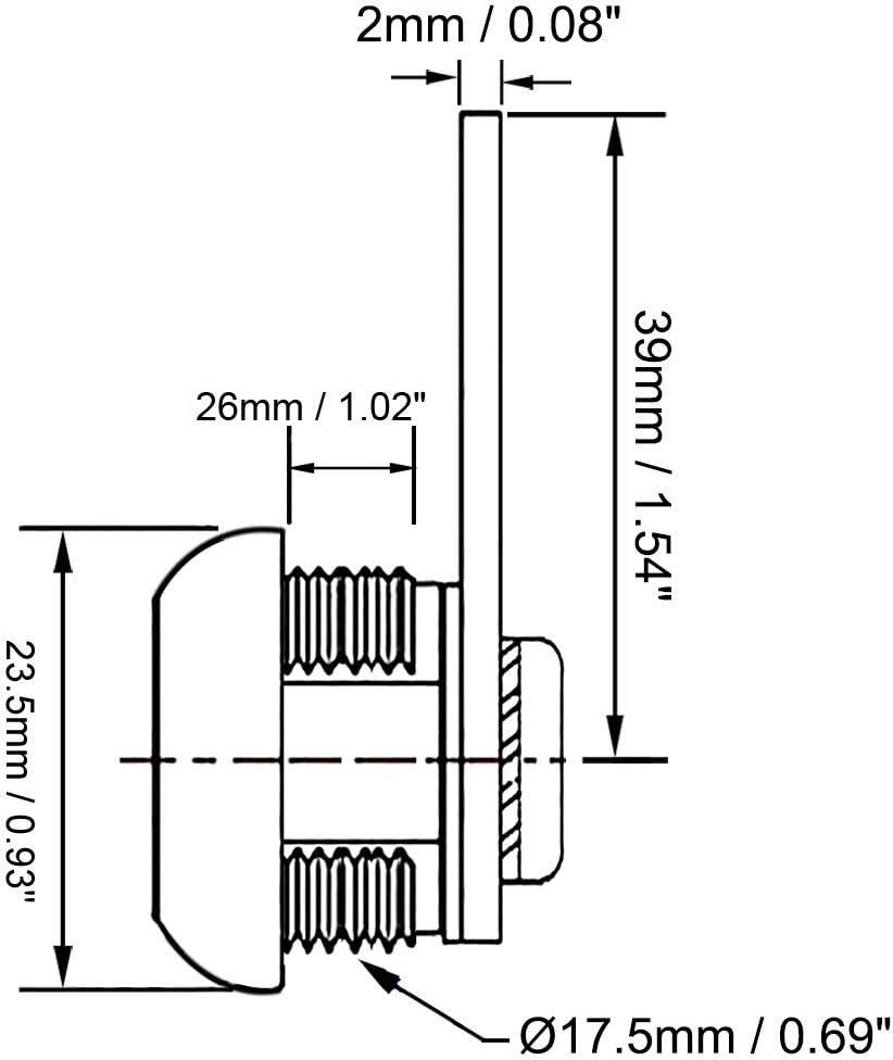 sourcing map Cerradura de Leva Cil/índrica de Armario de Longitud 16 mm con llave igual paquete de 2