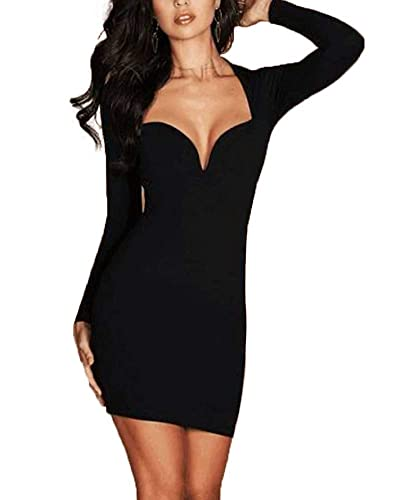 aa3c668db7 Buy Segolike New Sexy Women Deep V Neck Long Sleeve Bodycon Dress Party  Club Cocktail Mini Dress Tube Online at Low Prices in India | Amazon  Jewellery Store ...
