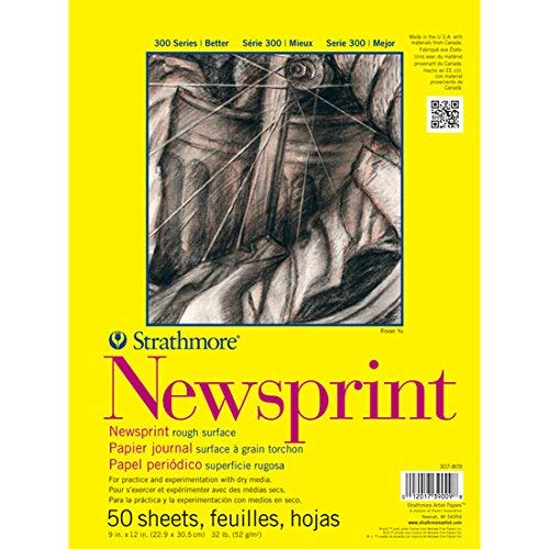 "Strathmore 300 Series Newsprint Pad, Smooth 18""x24"" Tape Bound, 50 Sheets"