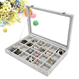 Wuligirl Ice Velvet 24 Grid Jewelry Tray Box Removable Display Case Organizer Glass Top Lid & Lock(24 Grid)
