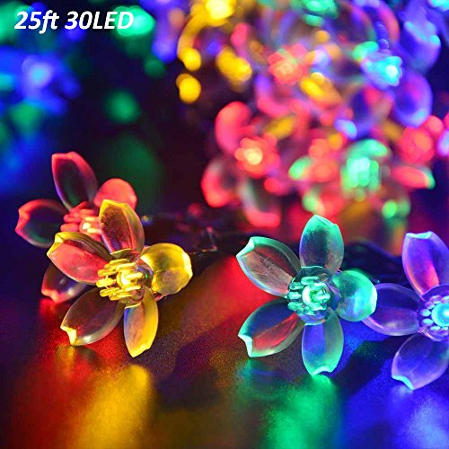 T-SUN 25ft 30LEDs Outdoor Solar String Lights, Colorful Solar Christmas Lights, Hanging Solar Garden Light, Patio, Yard, Home, Christmas Tree, Parties, Wedding (Cherry Blossom) ()
