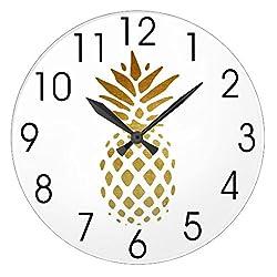 Modern Wooden Clock For Kids Golden Pineapple Fruit In Gold Non-Ticking Wood Quartz Wall Clock 12 Inch Gifts For Women