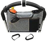 OLIVIA & AIDEN Stroller Bag Set –Universal Fit Durable Multi Pocket Stroller Organizer Bag and 2 Stroller Carry Hooks - Stroller Accessory Set