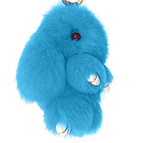 Mai Yi Soft Lovely Rabbit Doll Bunny Keychain Faux Fur Fluffy Keychain, Light Blue (Bunny Light Womens)