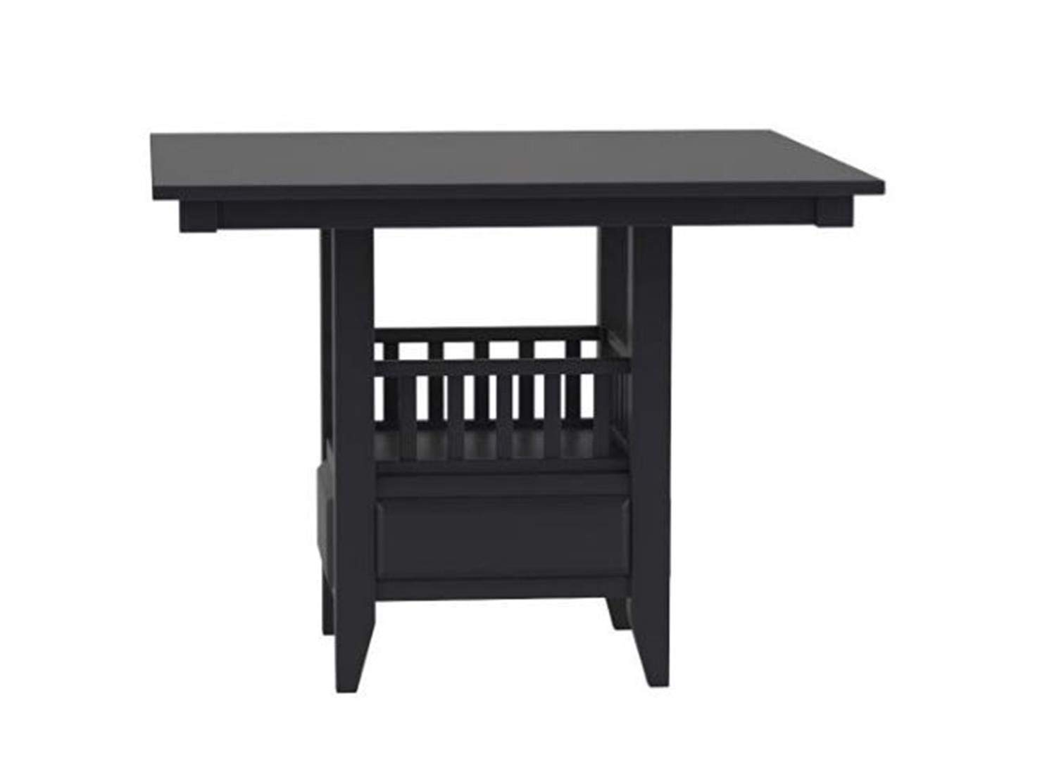 Jaden Square Counter Height Table with Center Storage Cabinet Espresso