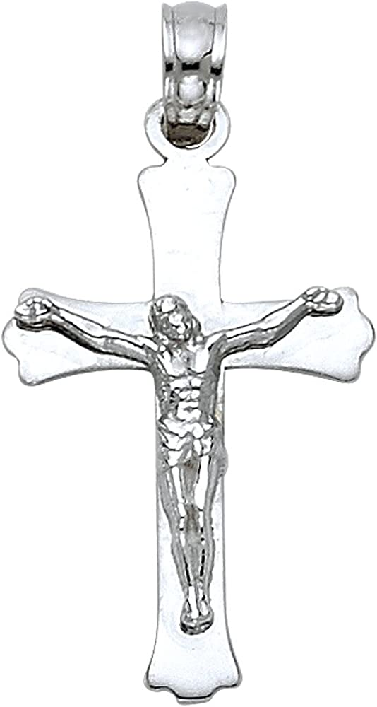 14K White Gold Jesus Crucifix Cross Pendant with 1.2mm Singapore Chain Chain Necklace