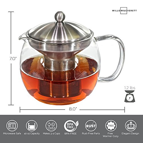 Teapot Kettle with Warmer - Tea Pot and Tea Infuser Set - Glass Tea Maker Infusers Holds 3-4 Cups Loose Leaf Iced Blooming or Flowering Tea Filter- Teapots Kettles Tea Strainer Steeper Tea Pots by Willow & Everett (Image #5)
