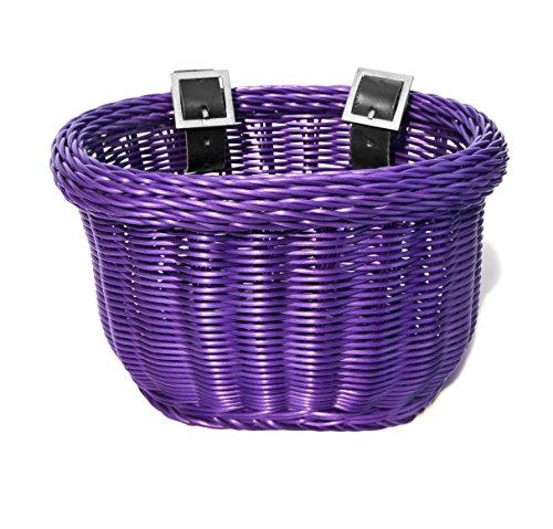 (Colorbasket 01617 Front Handle Bar Kids Bike Basket, Water Resistant, Leather Straps, Purple)