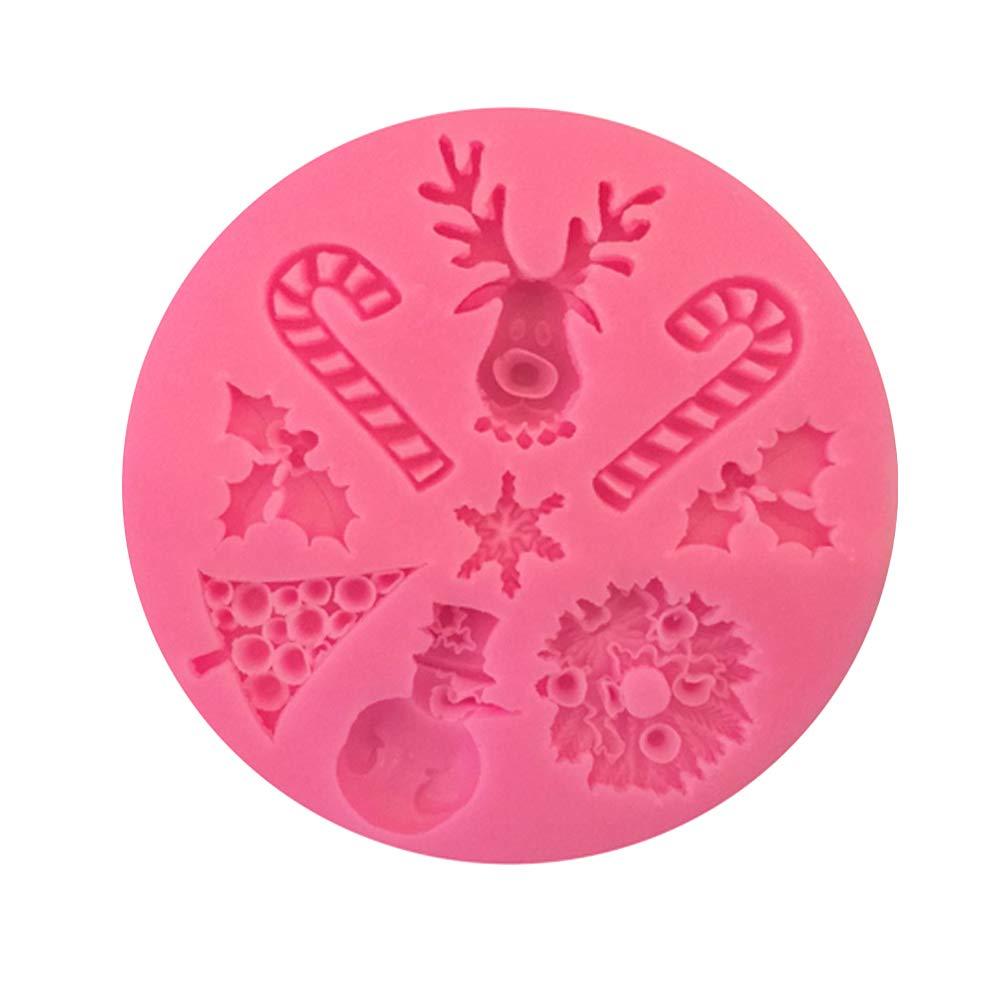 Qifumaer Moule à Muffins Silicone Moule de 3D Forme de Chaussettes Arbre Cuisson Cake Pan Muffin Coupes Main Savon Moules Gâteau Biscuit Chocolat Ice Cube Tray Mold Bricolage Noël size 8.6*1 CM (Rose)