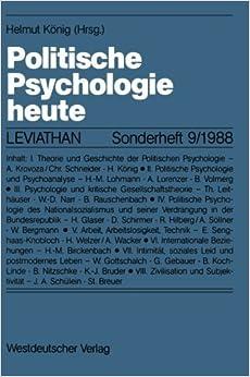Politische Psychologie heute (Leviathan Sonderhefte) (German Edition) (2012-04-26)