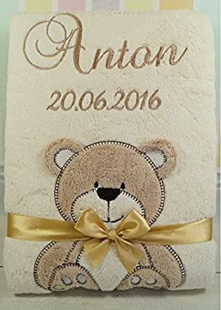 ★ Babydecke mit Namen und Datum bestickt ★ Baby Geschenke ★ Geburt ★ Beige - Affe