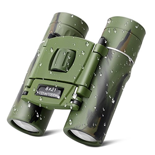(Kids Binoculars, 8x21 Compact Shock Proof Folding Telescope Camouflage Binoculars for Bird Watching, Outdoors Sports, Hiking and Concert Theater Opera, Best Gift Adults Children)