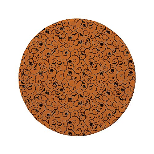 Non-Slip Rubber Round Mouse Pad,Halloween,Floral Swirls with Dots Little Bats Open Wings and Pumpkins Seasonal Pattern,Orange Black,11.8