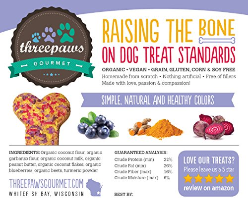 Confetti Bones, Coconut and Peanut Butter Gourmet Organic and Vegan Dog Treats - Gluten Free, Grain Free