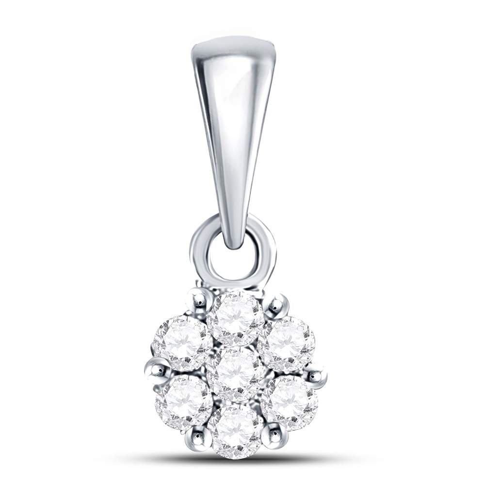 14KT White Gold Round Diamond Cluster Pendant 0.09 Cttw