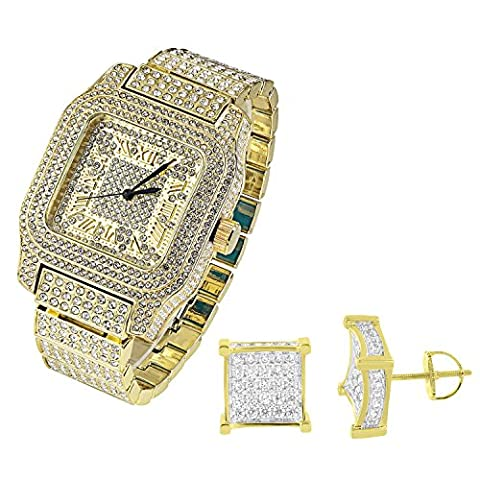 Fully Iced Out Watch Square Face Simulated Diamonds Gold Tone Techno Pave Jojo (Iced Out Square Watch)