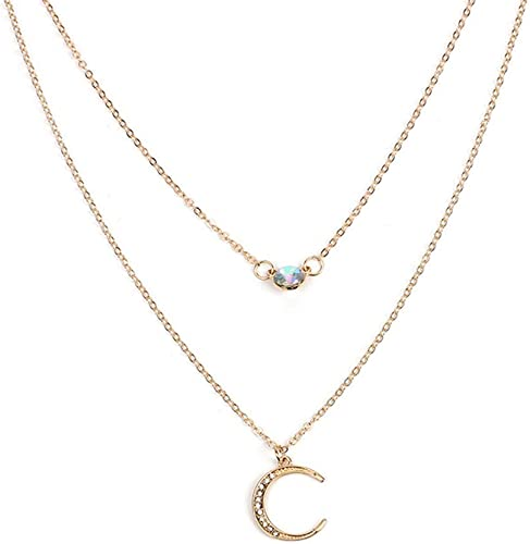 Women/'s Fashion Doublelayer Star and Moon Pendant Necklace Dangle Jewelry Set